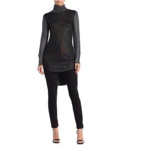 Go Couture Turtleneck High/Low Hem Tunic Sweater